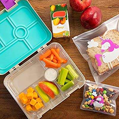 Unicorn Lunch Box Combo for Kids - Bento-Style Boxes with Food Storage Containers - Purple - ​Great For​ Meal Prep and Portion Control - Divider Trays for Storing Snacks: Kitchen & Dining
