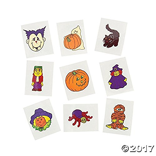 (Fun Express Glow-in-The-Dark Temporary Halloween Tattoos | 2-Pack (144 Count) | Great for Home and Party)