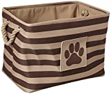 DII Bone Dry Medium Rectangle Pet Toy and Accessory Storage Bin, 16x10x12'', Collapsible Organizer Storage Basket for Home Décor, Pet Toy, Blankets, Leashes and Food-Brown Stripes
