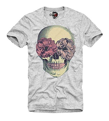 E1SYNDICATE T-Shirt Hipster Skull Dope Blogger London Boy Bones A27 DC HBA Grey ()