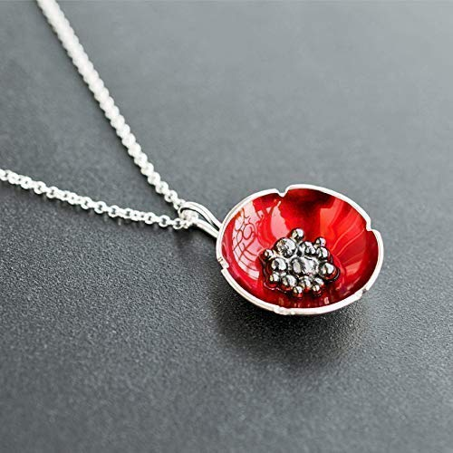 Red enameled poppy flower pendant necklace on sterling silver chain, gift, by Emmanuela