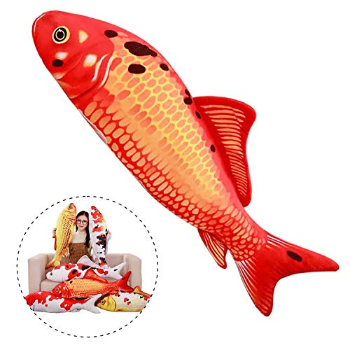 Simulation Fish Plush Toy Soft Fish Toy Pillow Cushion Stuffed Toy Oversized Pillow Creative Gift Home Decor 55 in, Red ()