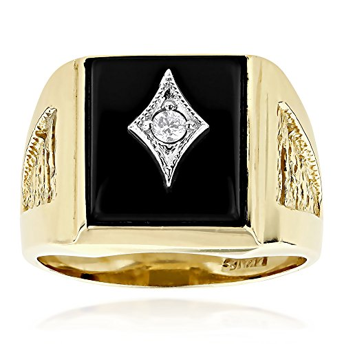 Luxurman Black Square Onyx And Diamond Rings 14K Gold Mens Ring (Yellow (14k Yellow Gold Onyx)