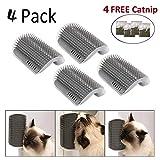 4 Packs Cat Corner Self Groomer Brush,Cat Groomer, Cat Wall Corner Massage Comb to Control Shedding Fur and Itching