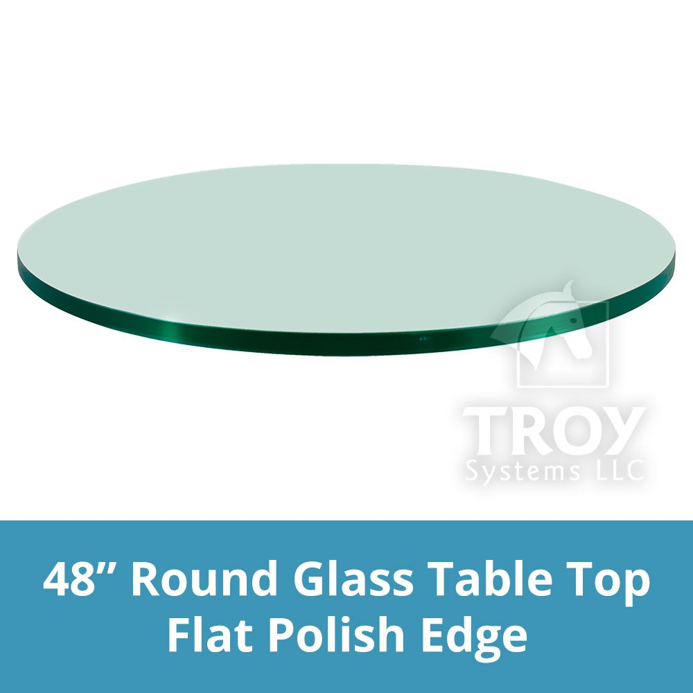 TroySys Tempered Glass Table Top, 3/8'' Inch Thick, Flat Polish Edge, Round, 48'' L