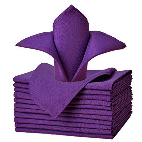 VEEYOO Cloth Napkins - Set of 12 Pieces 20 x 20 Inch Solid Polyester Table Napkins - Soft Washable and Reusable Dinner Napkin for Weddings, Parties, Restaurant (Purple Napkins Cloth)