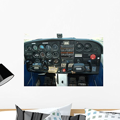 Wallmonkeys Cockpit of a Private Aircraft Wall Decal Peel and Stick Graphic WM48311 (24 in W x 16 in H)