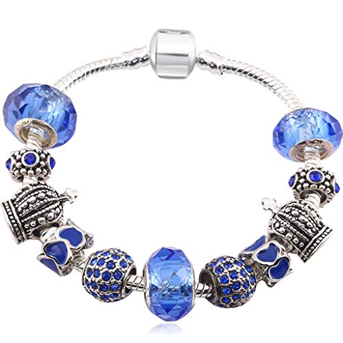 Fashion White Beads Silver Plated Charm Bracelet Bangle with Royal Crown Charm and Crystal Ball Brand Bracelet Blue 18cm