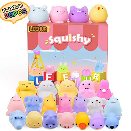 LEEHUR Birthday Party Favors 20pcs Mochi Glitter Squishies Toys Kids Mini Kawaii Animal Moj Moj Squishy Squeeze Adult Stress Reliever School Prizes for Girls Boys ()