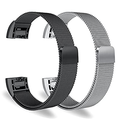 """Oitom Fitbit Charge 2 Accessory replacement Band,(2 Size) Large 6.7""""-9.3"""" Small 5.1""""-6.7"""" 2 PACK"""