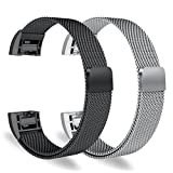 Oitom for Fitbit Charge 2 Accessory replacement Band,Large 6.7''-9.3'',2 Pack Silver+Black