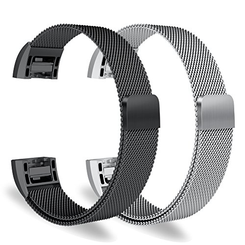 Oitom for Fitbit Charge 2 Accessory Replacement Band,Small 5.1-6.7,2 Pack Silver+Black