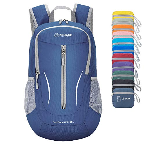 - ZOMAKE Ultra Lightweight Packable Backpack, 25L Small Water Resistant Hiking Daypack Foldable Travel Backpack for Men Women Outdoor(Jewelry Blue)
