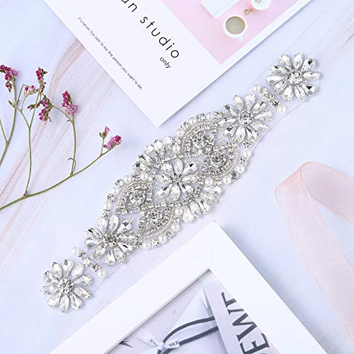 - XINFANGXIU Bridal Wedding Dress Sash Belt Applique with Crystals Rhinestones Pearls Beaded Dacorations Handcrafted Sparkle Elegant Thin Sewn or Hot Fix for Women Gown Evening Prom Clothes - Silver