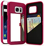 Galaxy S7 Case, Bastex Hot Pink Hidden Back Mirror Wallet Case with Stand Feature and Card Holder for Samsung Galaxy S7 G930