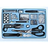 Ze - Set da cucito da 143 pezzi: forbici, scucitrice, aghi per macchina da cucire ecc., colore: Azzurro/Nero/Naturale