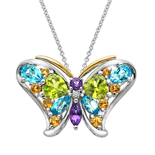 4 3/8 ct Natural Multi-Stone Butterfly Pendant Necklace with Diamond in Sterling Silver & 14K Gold (Multi Pendant Butterfly Stone)