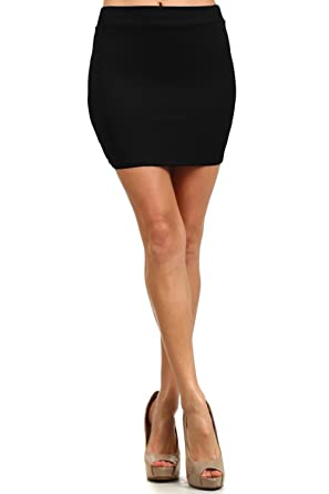Women S Fitted Solid Mini Skirt With Stretch At Amazon Women S