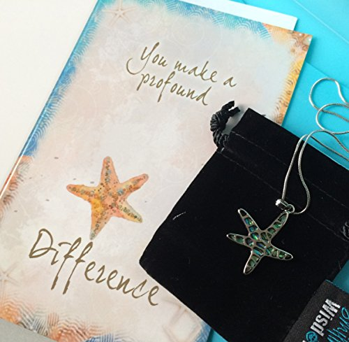 Smiling Wisdom - Abalone Starfish Story Necklace Gift Sets - You Make Profound Difference Greeting Card - Show Appreciation Thanks - Encourage a Friend, Teacher, Volunteer, Caregiver, Coach, for (Starfish Story Gifts)
