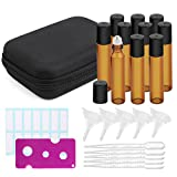 Roller Bottles for Essential Oils with Black Storage Case,Included 10pack Bottles 10ml Amber Glass with Stainless Steel Roller Ball,1pc Bottle Opener, 5sets Funnels and Droppers, 14pcs Stickers