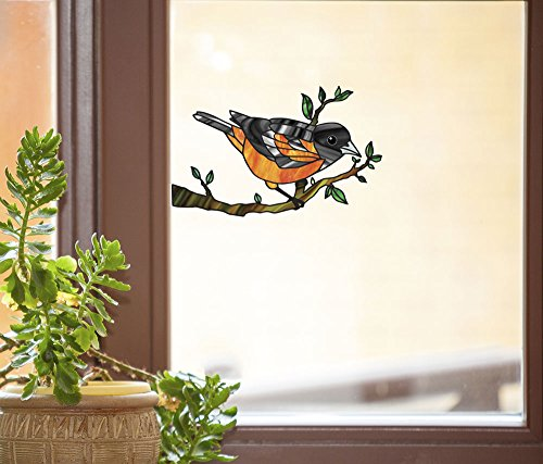 """Bird - Oriole Perched on Branch - Stained Glass Style See-Through Vinyl Window Decal - Copyright 2017 YYDCo. (MD 5.25"""" w x 3.25"""" h)"""