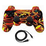Bowink Wireless Bluetooth Controller For PS3 Double Shock - Bundled with USB charge cord (camouflage Yellow)