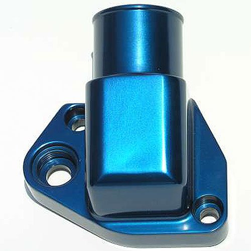 Meziere WN0023B Blue Fixed Water Neck for Small Block Ford