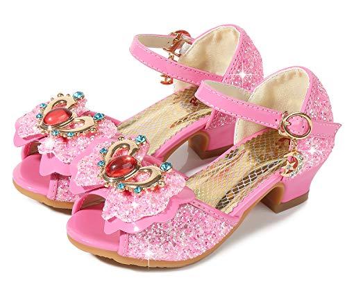 Sequins High Heel Platform - Girls Heeled Sandals for Wedding Princess Size 1 M Sequin Wedge Crystal High Heel Sandals Girls Rhinestone Cute Dress Shoes Platform (B Pink 33)