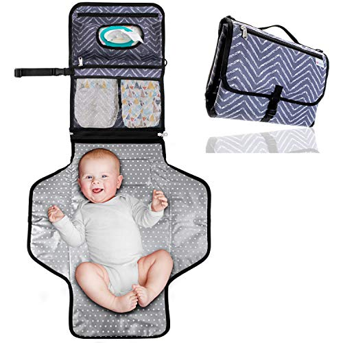 Waterproof Portable Changing Pad - Travel Diaper Changing Table Cover, Pillow, Shoulder & Stroller Straps, Detachable Wipes Holders - Gender Neutral Baby Registry Must Have by GoBambinos, 24 x 22 in.