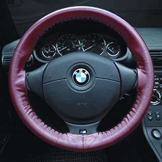 product image for Wheelskins Original One Color non perforated style Leather Steering Wheel Cover - Color: Red, Size: 14 1/4 inches X 3 7/8 inches