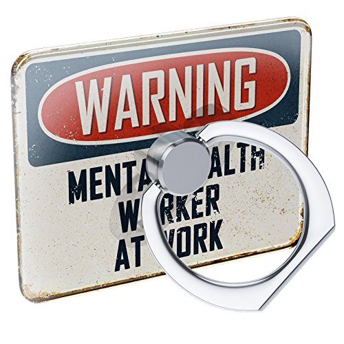 Cell Phone Ring Holder Warning Mental Health Worker at Work Vintage Fun Job Sign Collapsible Grip & Stand Neonblond