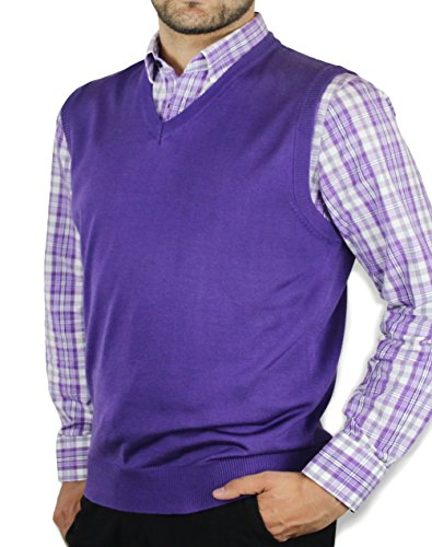 Blue Ocean Solid Color Sweater Vest-Large -