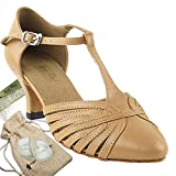 Women's Ballroom Dance Shoes Tango Wedding Salsa Dance Shoes Beige Brown Leather 6829BEB Comfortable - Very Fine 2.5'' Heel 5 M US [Bundle of 5]