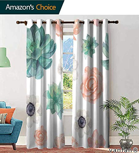 (LQQBSTORAGE Custom Pattern Curtains Insulated Thermal Watercolor Succulents and Flowers Seamless Pattern Vintage Wallpaper with Pastel Peony Roses, Curtains for Bathroom, W84 x L96 Inch, (2 Panels))