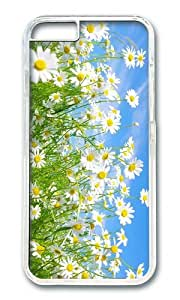 MOKSHOP Adorable Daisies Meadow Hard Case Protective Shell Cell Phone Cover For Apple Iphone 6 (4.7 Inch) - PC Transparent