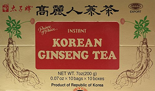 Ginseng Root Tea (Prince of Peace Korean Ginseng Tea(instant) 0.07 Oz X 10 Bags X 10)