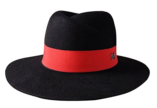 Image Unavailable. Image not available for. Color  The Trendy Women Felt  Brim Fedora Letter M Top Hat Black+Red 11c3c3802087