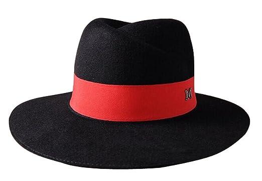 The Trendy Women Felt Brim Fedora Letter M Top Hat Black+Red at ... 93be6d6aadbb