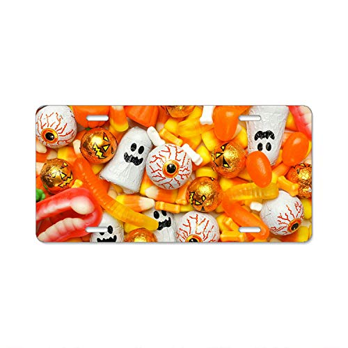Pulongpoq Cute Girly Halloween Candy Car Accessories Metal License Plate Frame (New) 12