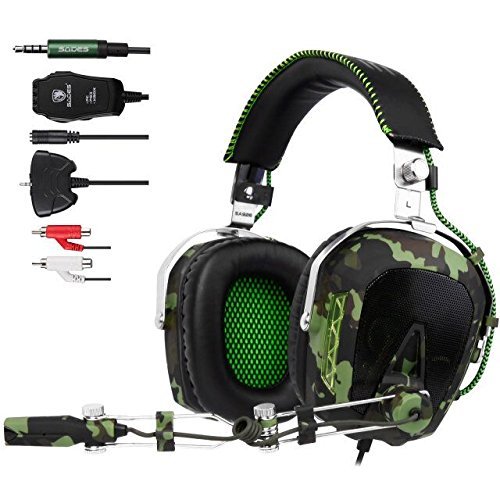 SADES SA 926 Stereo Gaming Headset Over-Ear-Kopfhörer mit Mikrofon für PS4 PS3 Xbox One Xbox 360 PC Mac Smart Phone iPhone (Armee-Grün)
