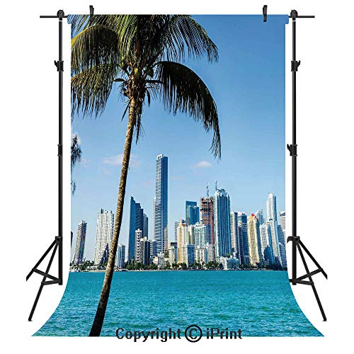 Coastal Decor Photography Backdrops,Miami Downtown with Biscayne Bay