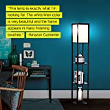 Brightech Maxwell - LED Shelf Floor Lamp - Modern Standing Light for Living Rooms & Bedrooms - Asian Wooden Frame with Open Box Display Shelves - Black