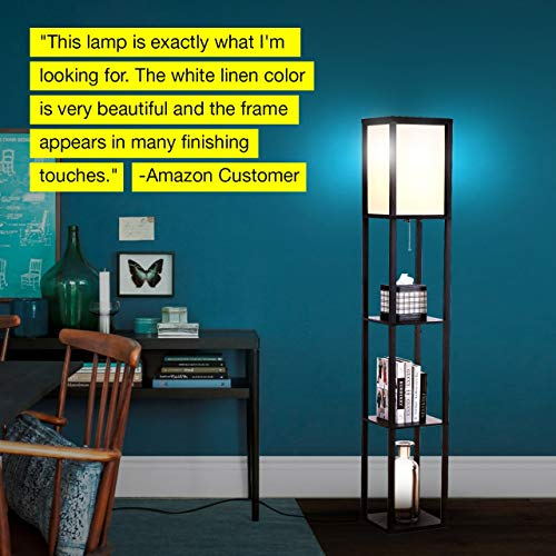 Brightech Maxwell - LED Shelf Floor Lamp - Modern Standing Light for Living Rooms & Bedrooms - Asian Wooden Frame with Open Box Display Shelves - Black - bedroomdesign.us