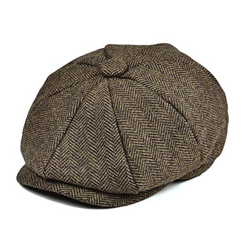 (JANGOUL Boys Vintage Newsboy Cap Tweed Flat Beret Cabbie Hat for Kids Toddler Pageboy (54cm(4-5 Years Old), Dark Khaki))