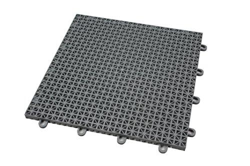 IncStores Outdoor Patio Interlocking Rugged Grip-Loc Tiles - 4 Pack - Grey