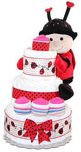 Diaper Cake For Lady Bug Baby Shower Theme/ Lady Bug Center Piece / Newborn Girl Gift