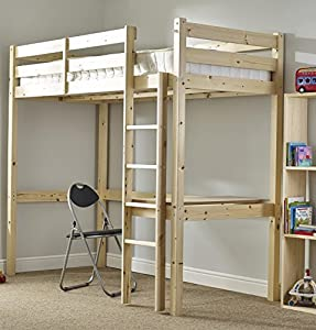 Childrens Pine Bunk Bed 3ft Single Work Station Bunkbed