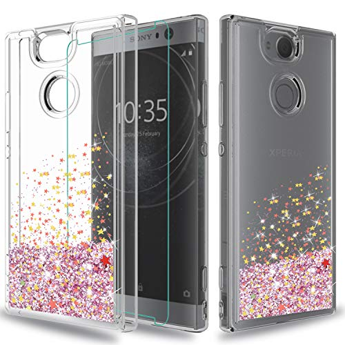 Sony Xperia XA2 Case (NOT FIT:Sony Xperia XA2 Ultra) with HD Screen Protector,Wtiaw [Quicksand Series] Flowing Liquid Floating Ultra Thin Shock Absorption Clear TPU Case for Sony Xperia XA 2-SA Pink