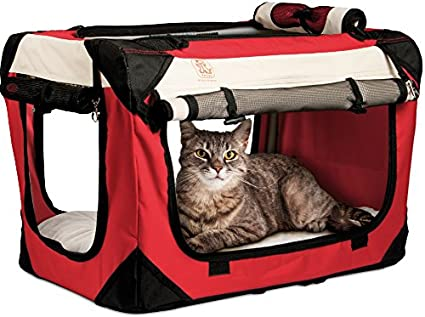 PetLuv Happy Cat Premium Soft Sided Foldable Top & Side Loading Pet Carrier & Travel Crate