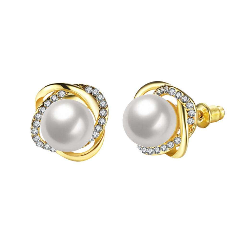 Pearl Earrings Clearance! A Pair Of Rose-shaped Pearl Crystal Stud Earrings Women Earrings Jewelry Wedding Gift (Gold)